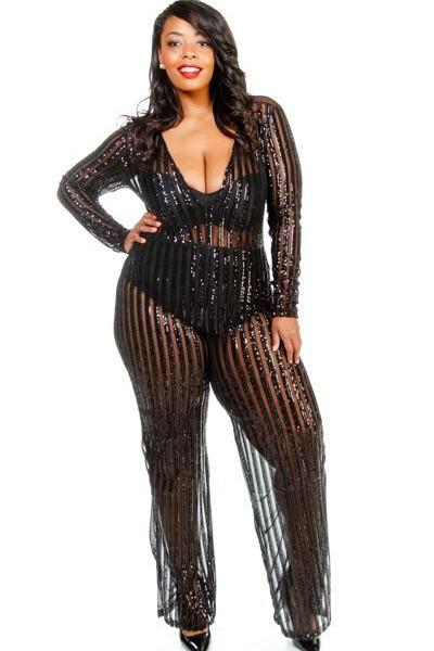Plus Size V-neck Sheer Palazzo Sequin Cocktail Jumpsuit - Black