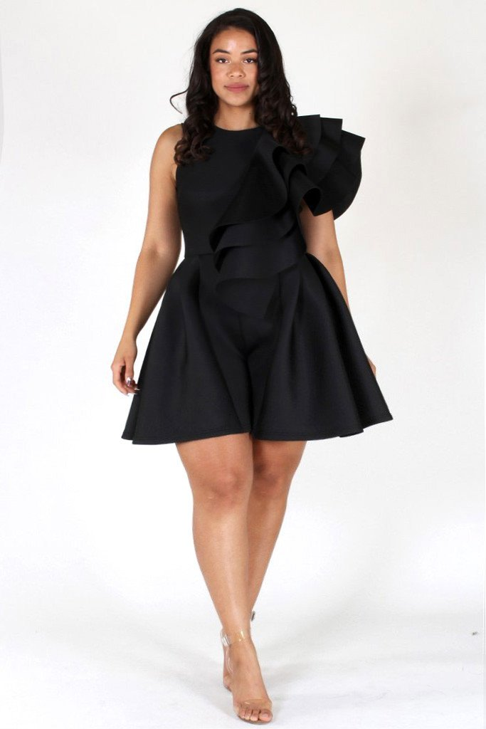 Plus Size Runway Tiered Techno Solid Romper