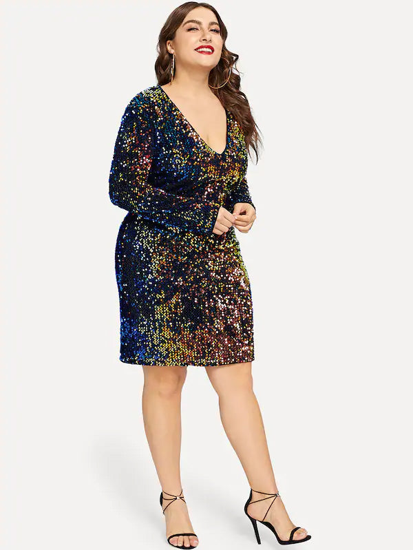 Plus Size Limelight Vivid V-Neck Iridescent Sequin Dress