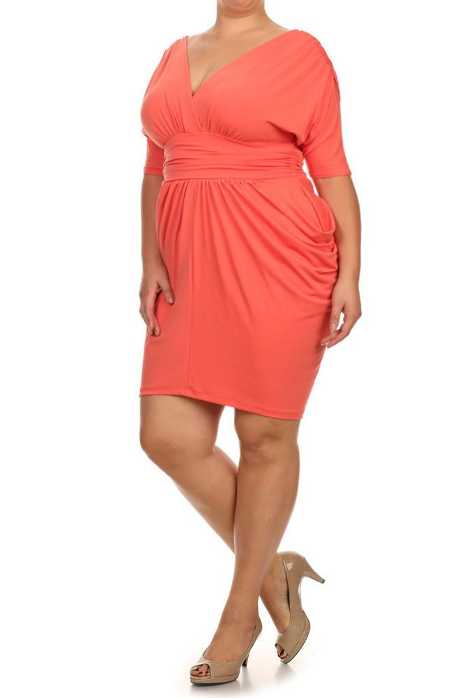 Plus Size Divine V Neck Pleated Peach Coral Dress – slayboo