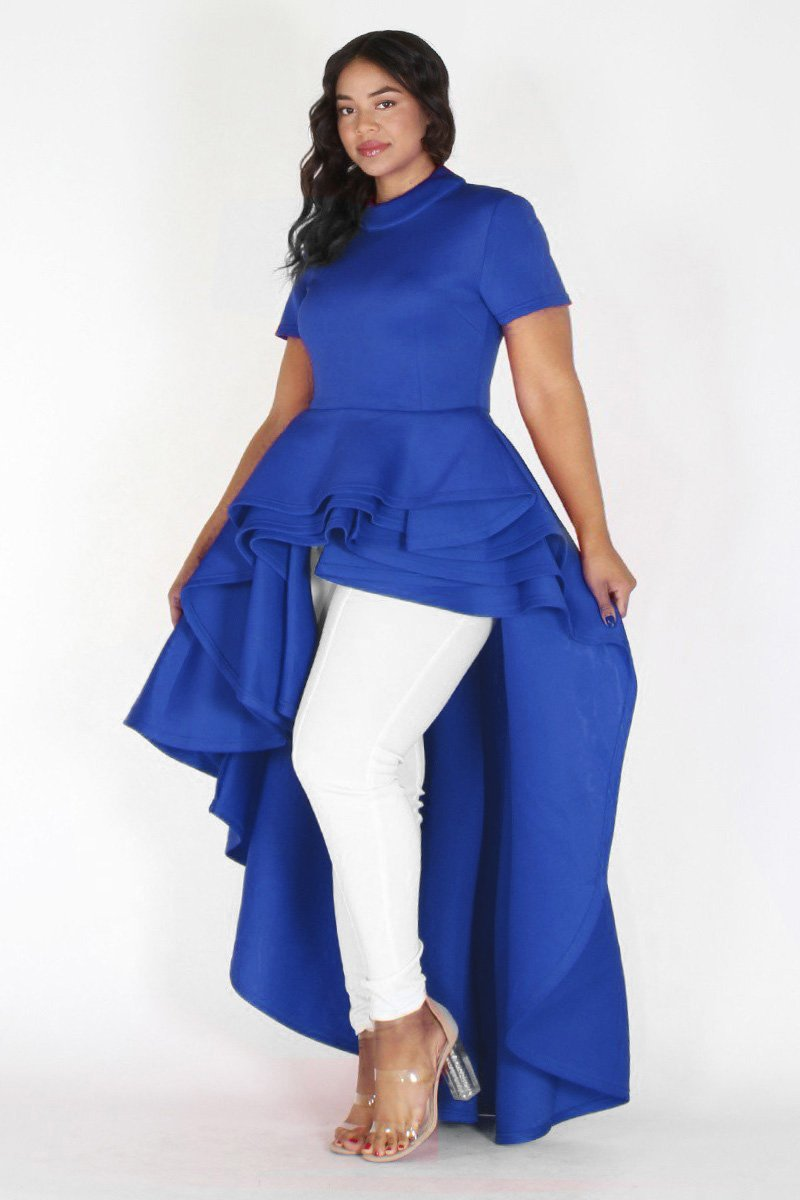 Plus Size Glam Short Sleeve Hi Low Tiered Dress Blue