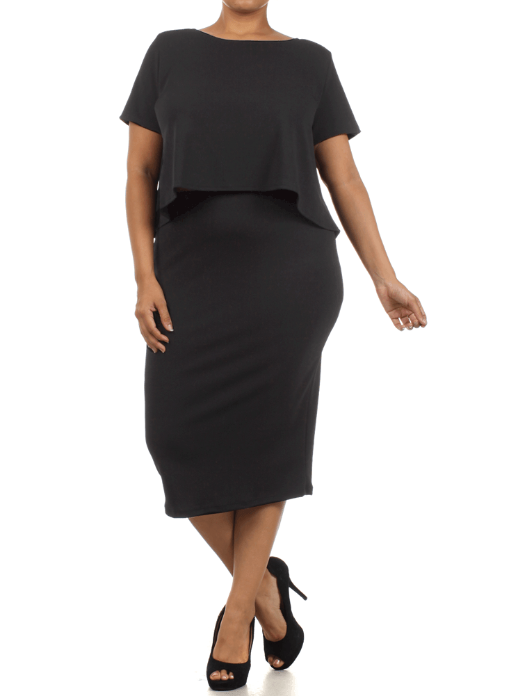 Plus Size So Bossy Boxy Black Crop Top Skirt Set