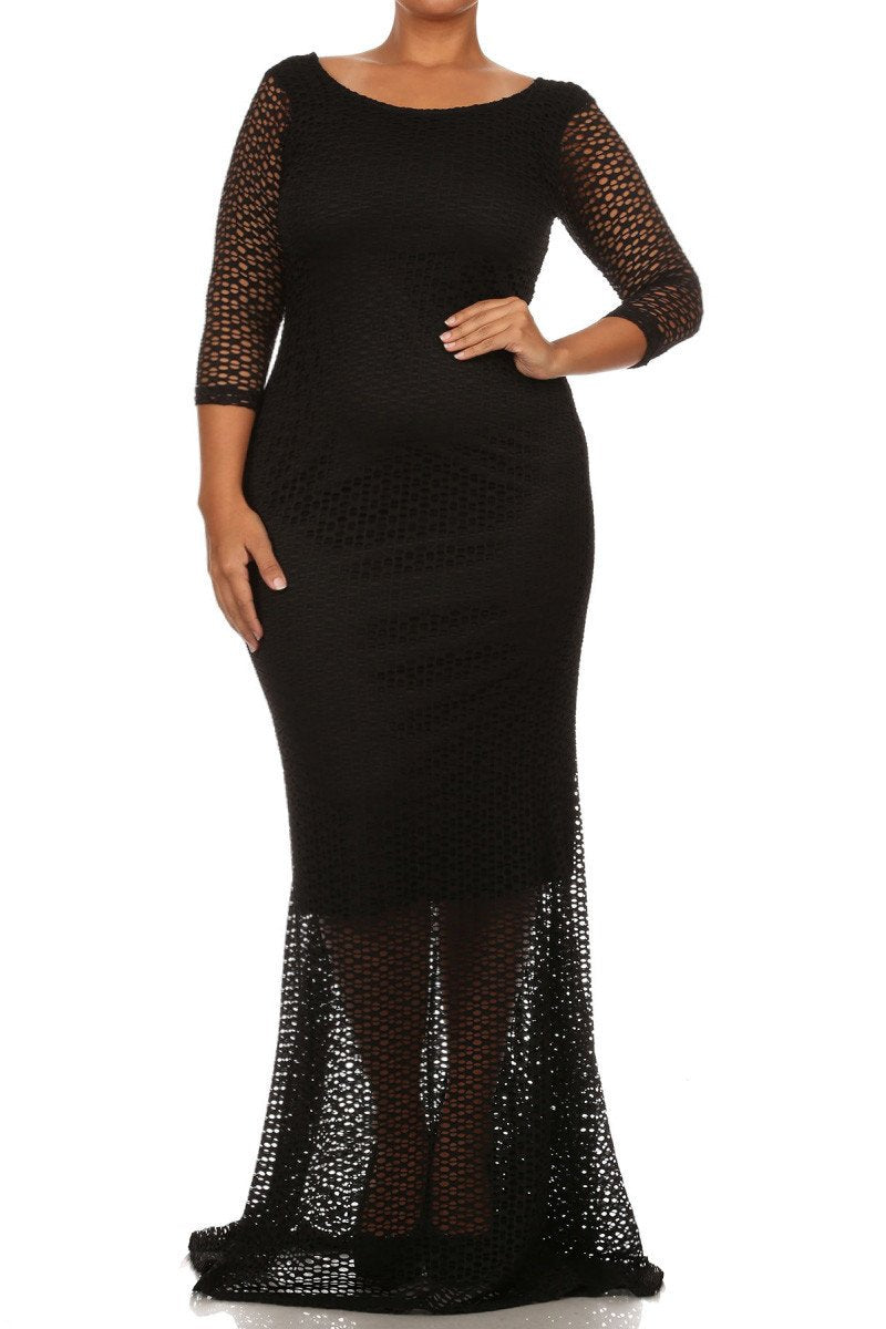 Plus Size Sexy SLAY Nylon Lace Lining Dress