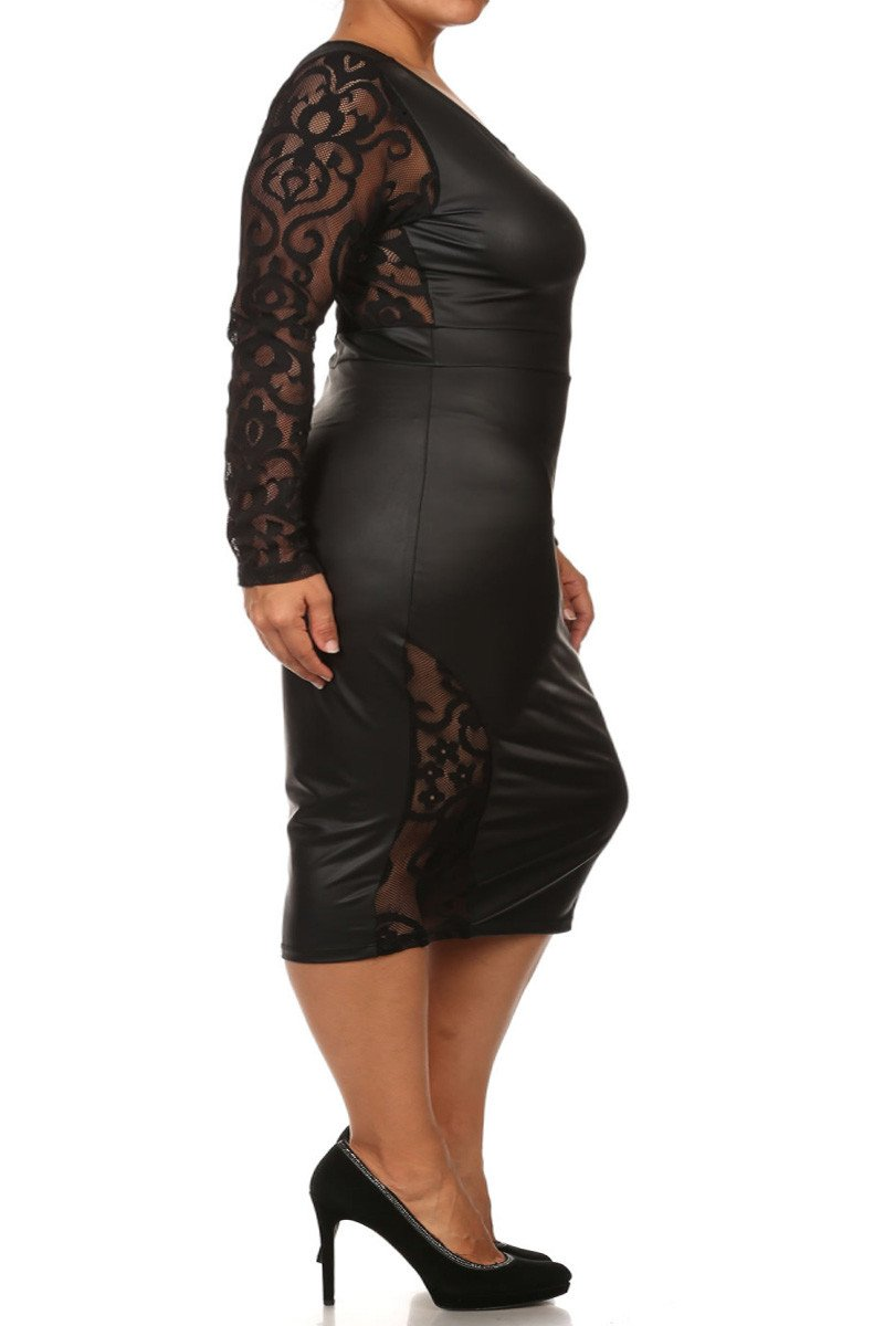 Plus Size PVC Bodycon Lace Contrast Dress