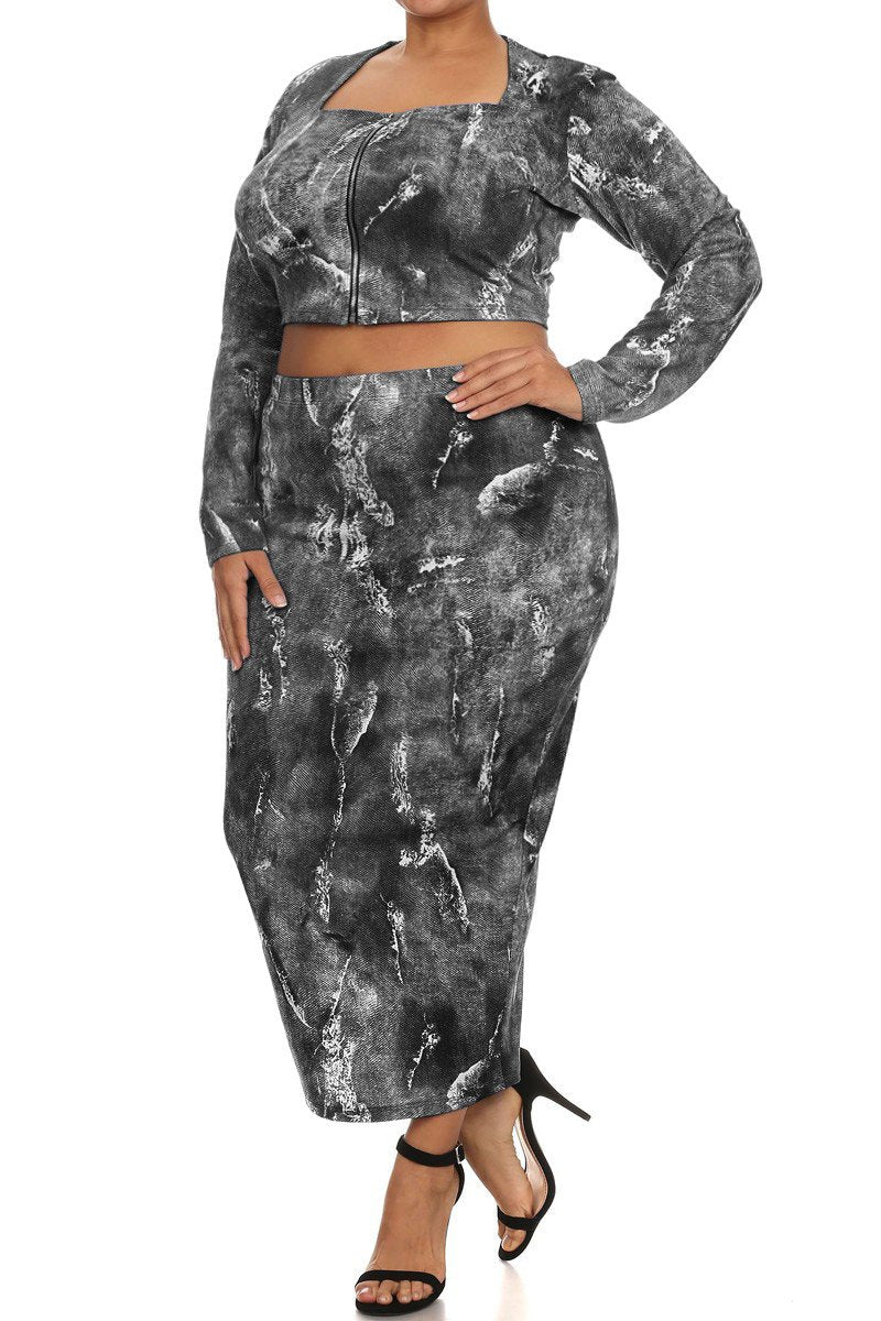 Rockstar Plus Size Denim Print Zip Up 2 Piece Set