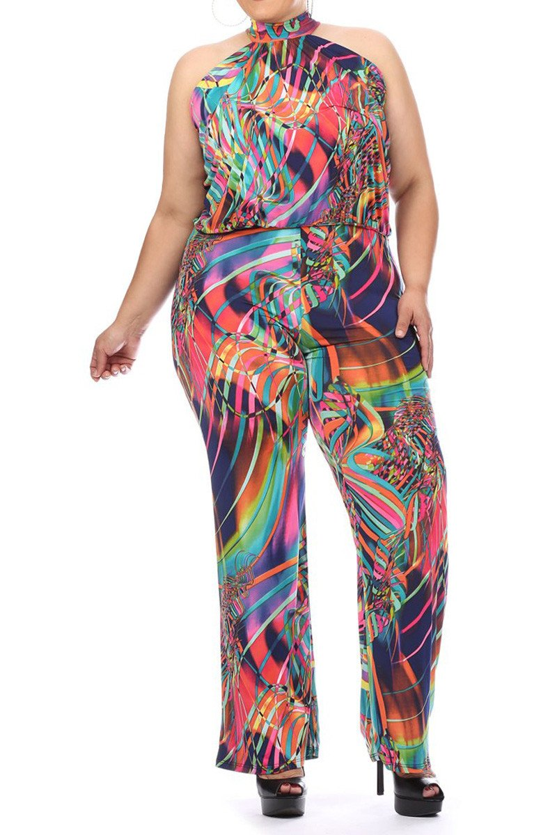 Plus Size Sexy Colorful Party Relaxed Fit Halter Jumpsuit
