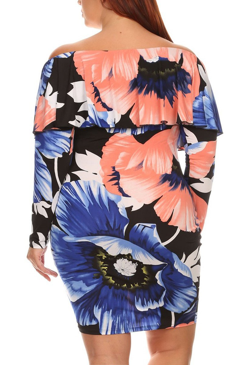 Plus Size Island Queen Floral Off Shoulder Dress