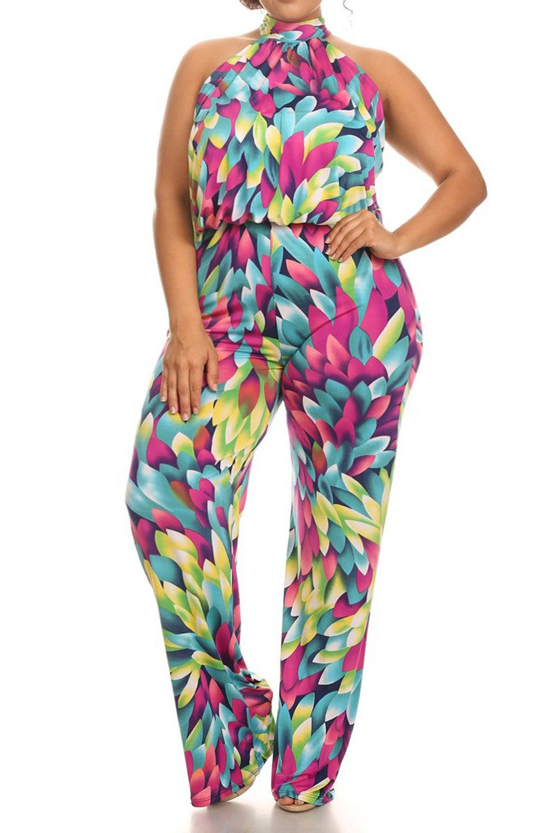 Plus Size Colorful Floral Sleeveless Relaxed Fit Jumpsuit