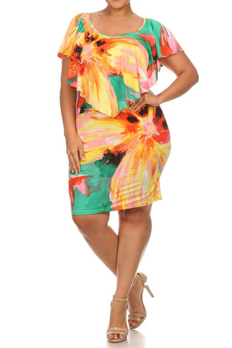 Plus Size Summer Ruffled Overlay Body-con Dress
