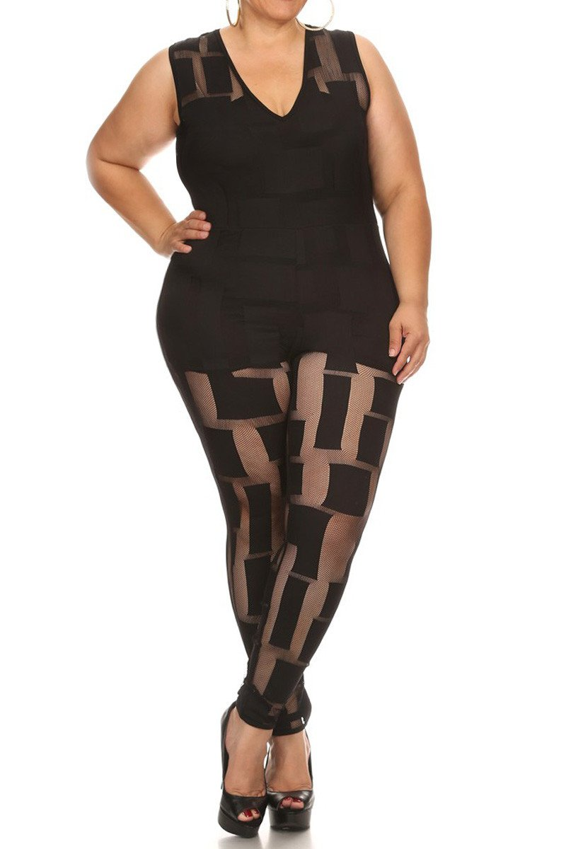 See Through Alluring Mesh Panels Plus Size Jumpsuit