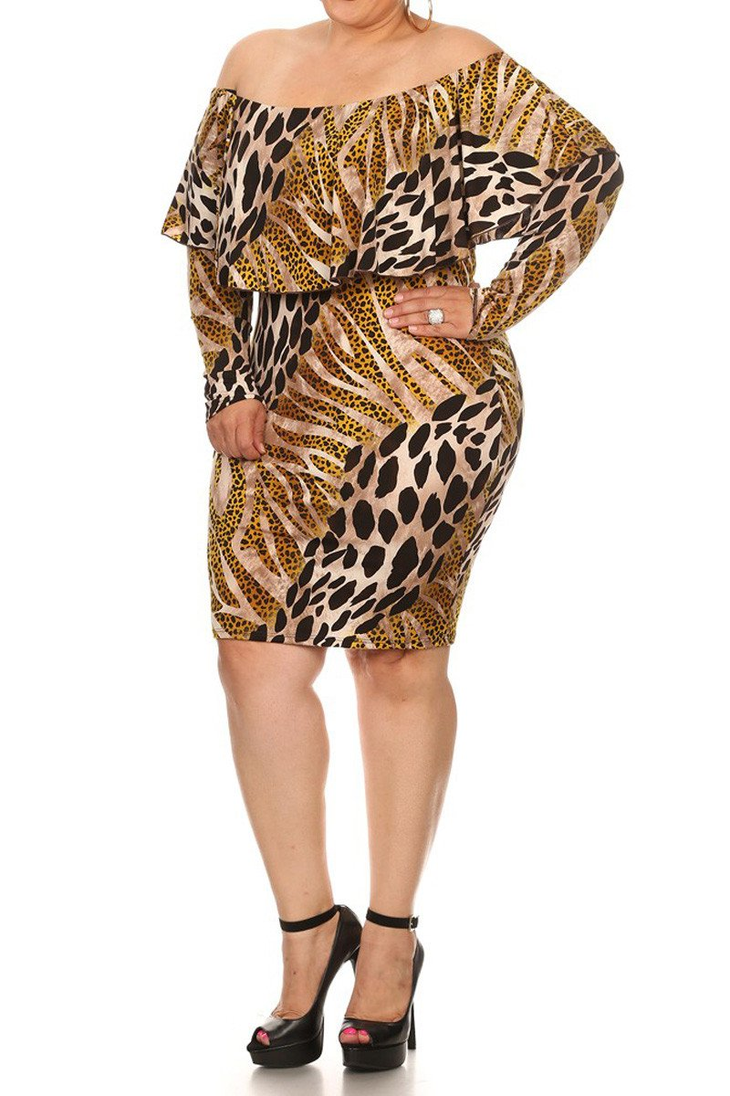 af6dca05606 Wild Heart Leopard Print Off Shoulder Plus Size Dress – slayboo