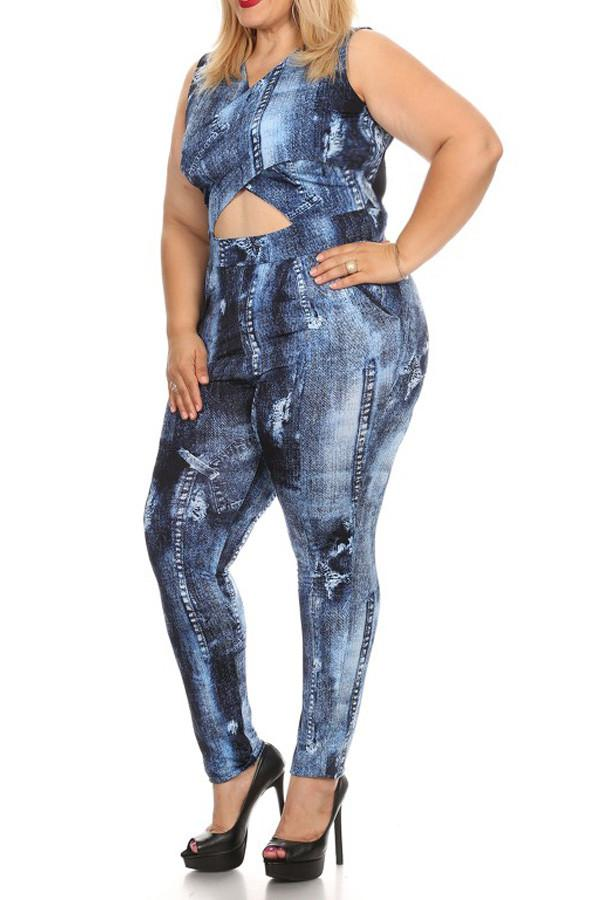 6643bb8827b Plus Size Denim Print Sleeveless Jumpsuit – slayboo