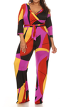 Vivid Geometric Plus Size Jumpsuit