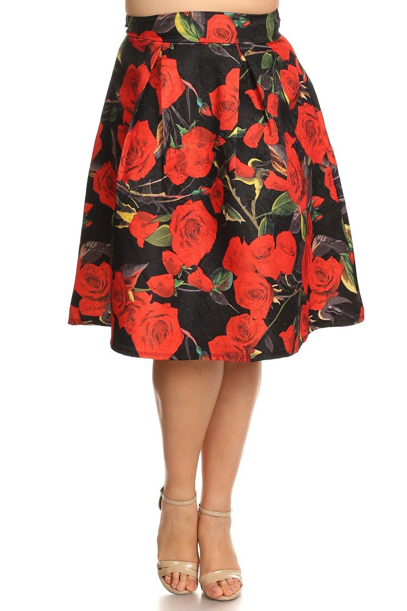 Plus Size For Love And Roses Flared Skirt