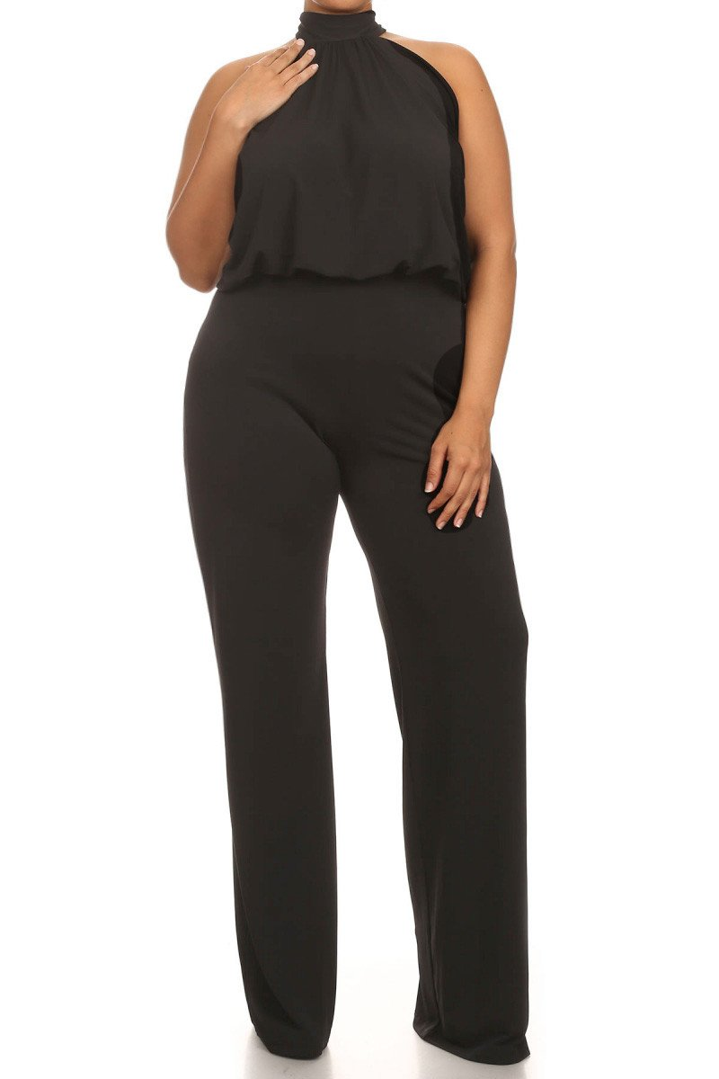 Plus Size Relaxed Fit Halter Neck Jumpsuit