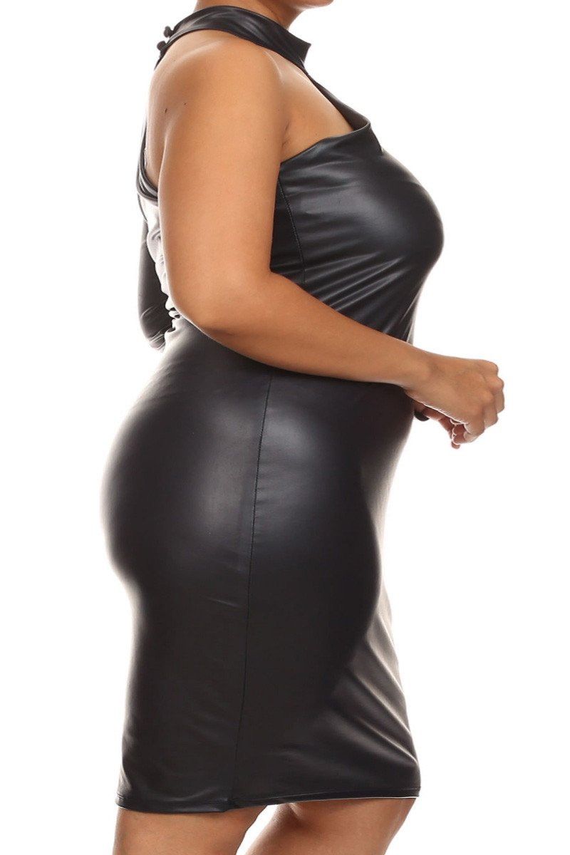 Plus Size Sexy Leather One Sleeve Mid Dress