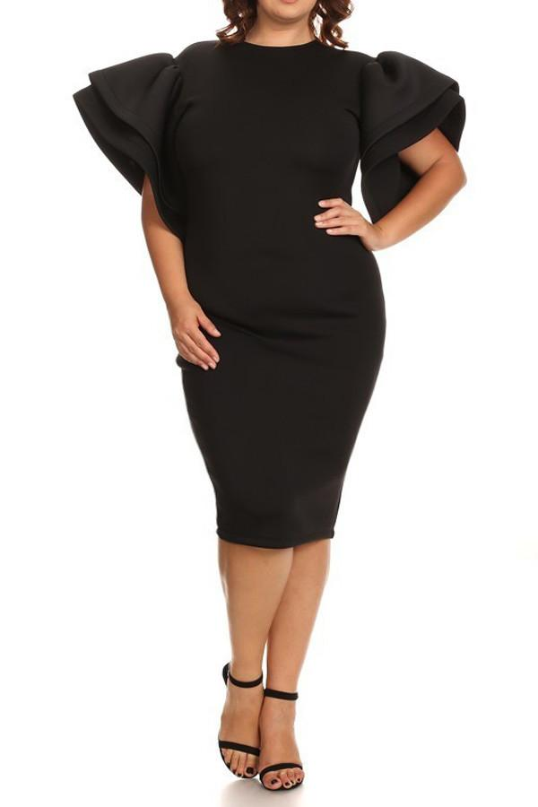 Plus Size Ruffled Shoulder Super Techno Dress