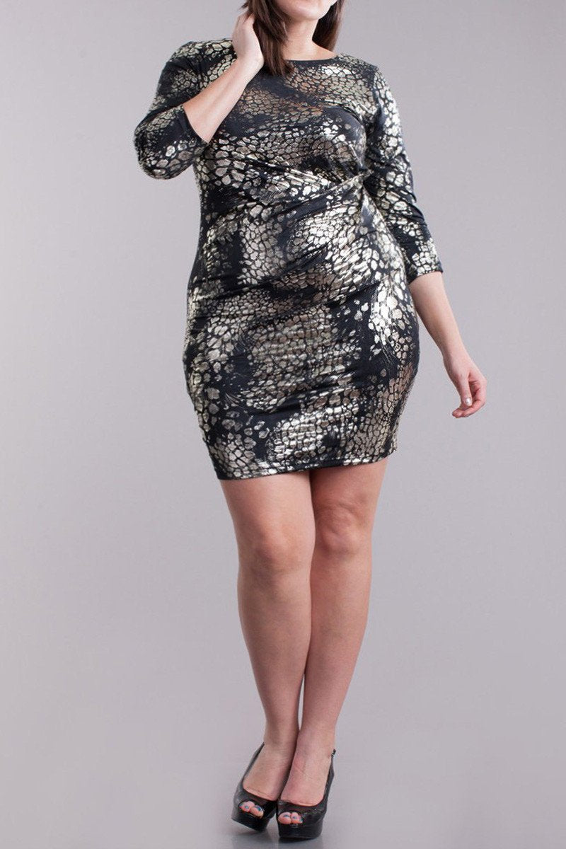 Plus Size Gold Leaf Vibrantly Fierce Dress