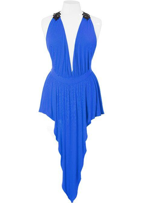 700e9d8567 Plus Size Sexy Red Carpet Gathered Blue Dress – slayboo