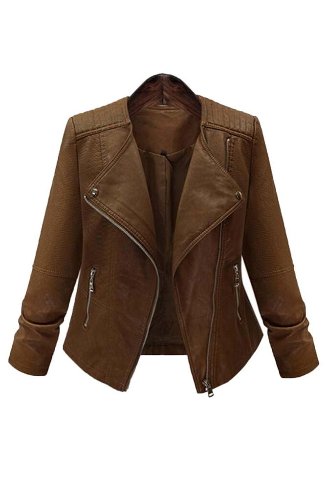 Plus Size Moto Faux Leather Zip Up Jacket Top