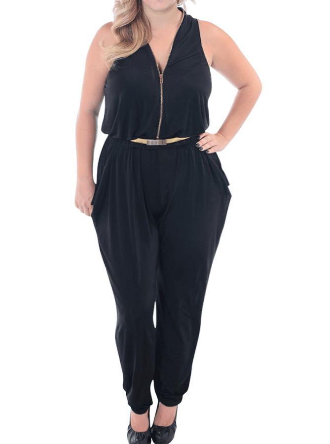 Plus Size Striking See Through Gold Belt Jumpsuit