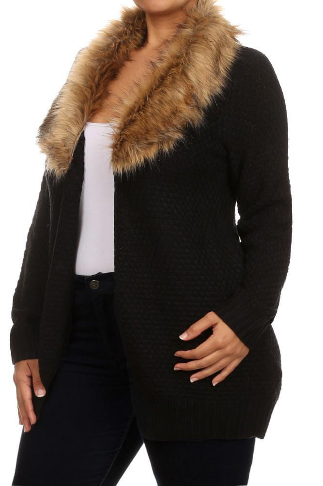 Plus Size Lavish Open Front Fur Neckline Cardigan