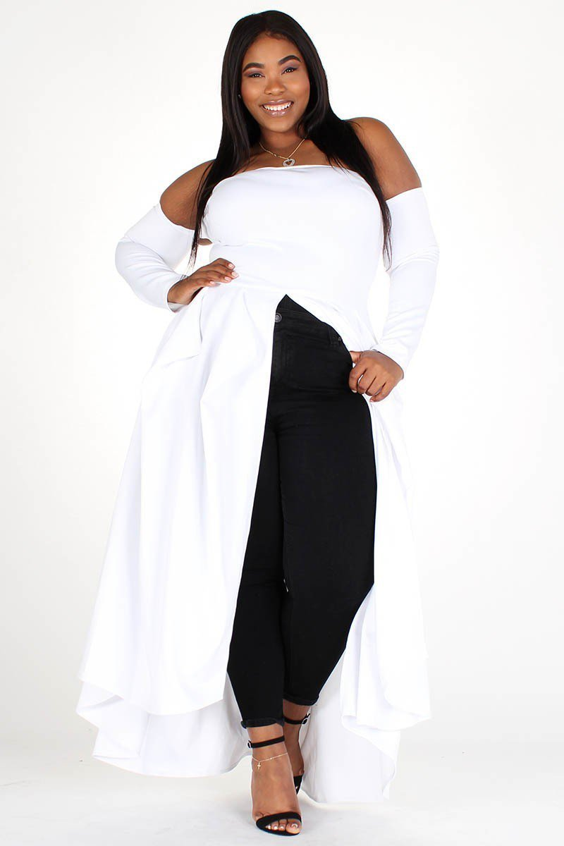 Plus Size Solid Off Shoulder Flared Long Sleeve Top