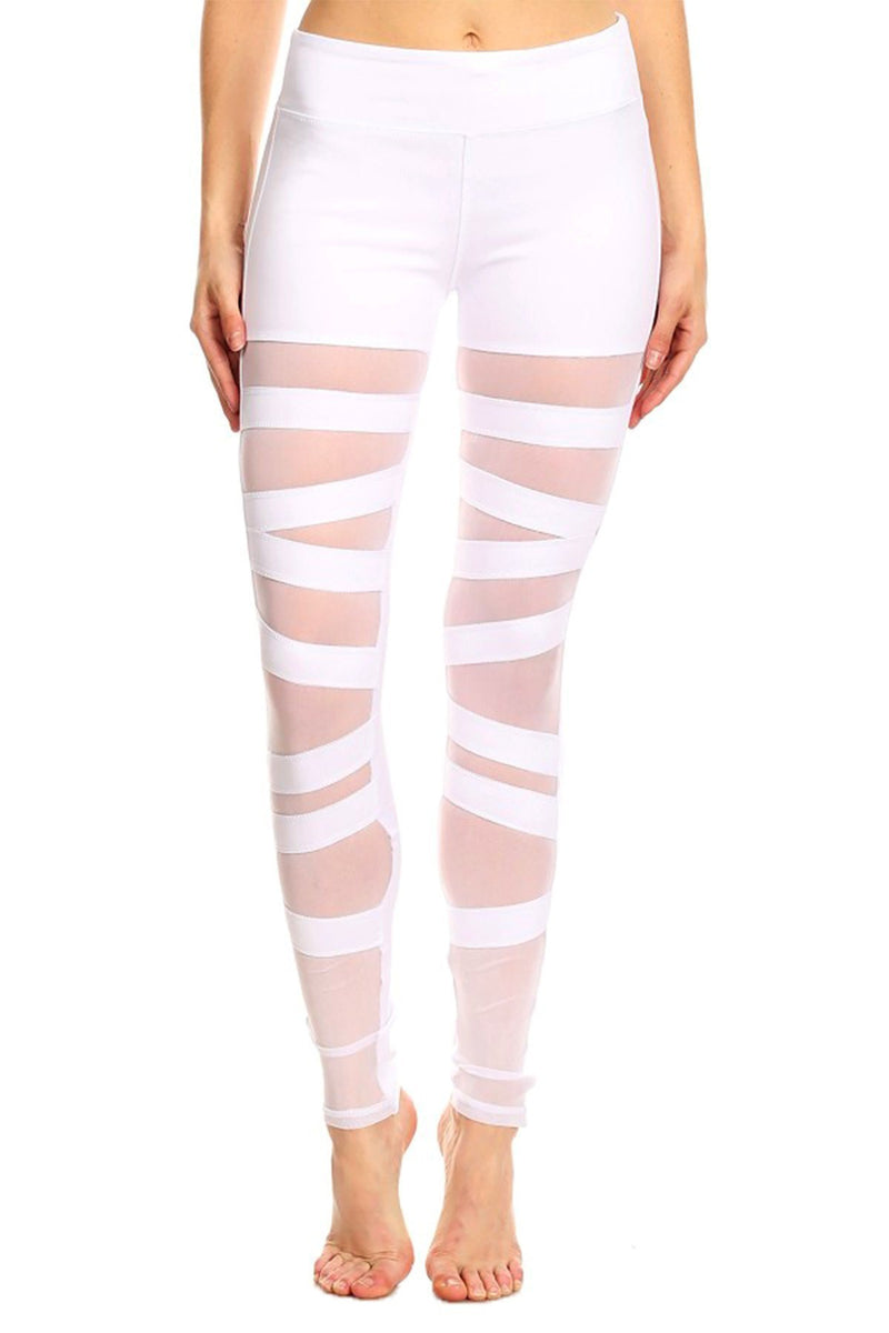 Solid Knit Mesh Panel Leggings