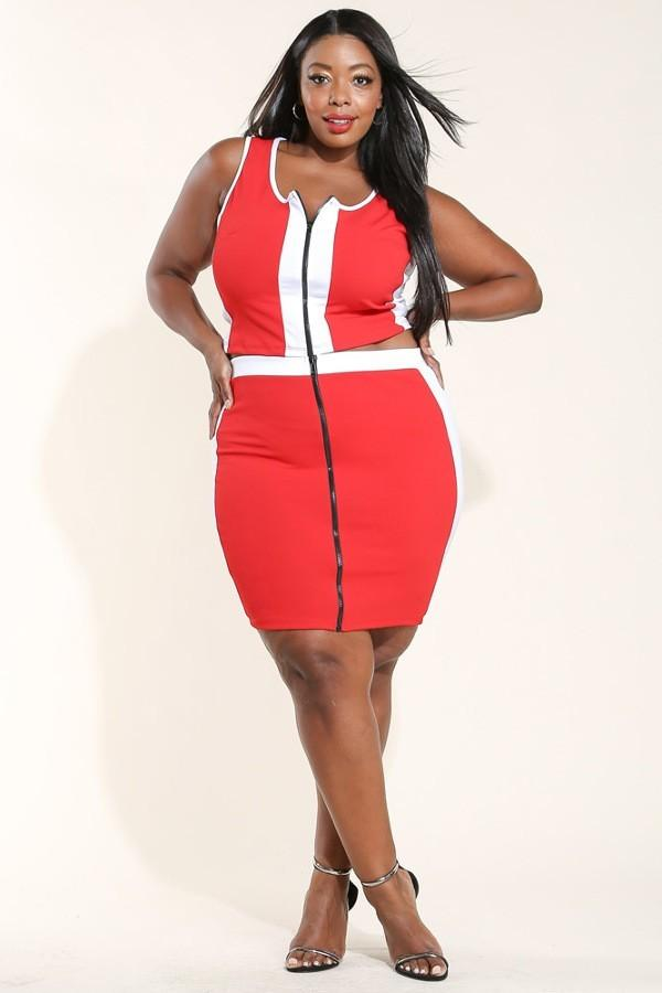 Plus Size Colorblocked Front Zipper Tank Top & Skirt Set