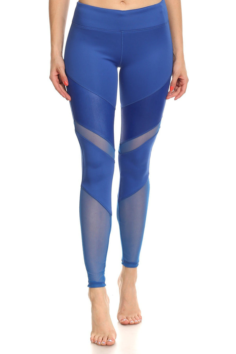 Glossy Texture Banded Fabric Mesh Panels Leggings