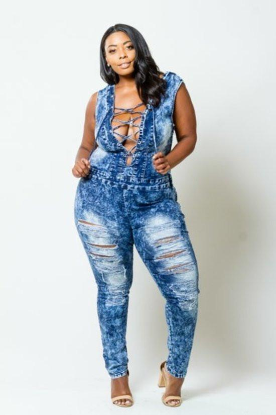 90582617b23 Plus Size Sexy Acid Denim Lace Up Jumpsuit – slayboo