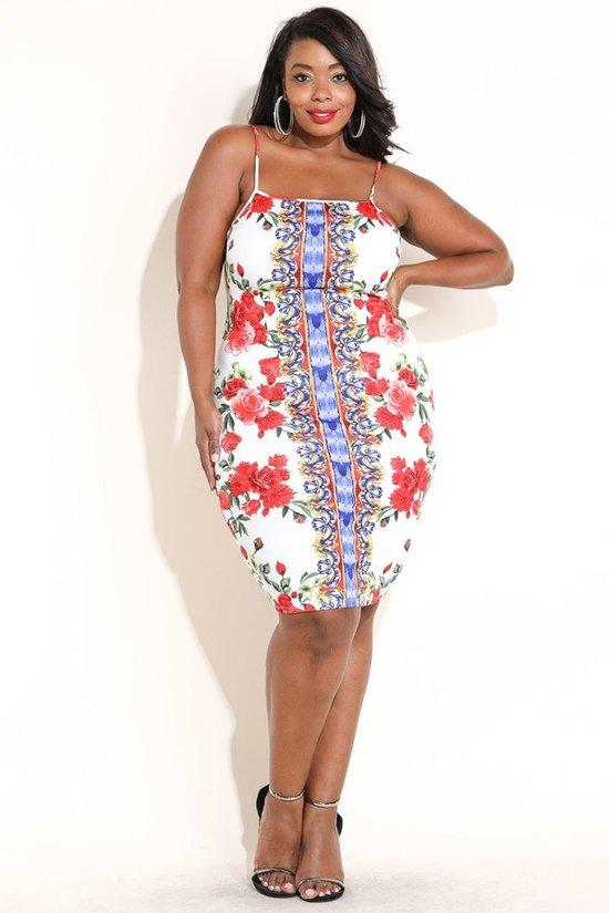 Plus Size Floral Escape Blue Trim Dress