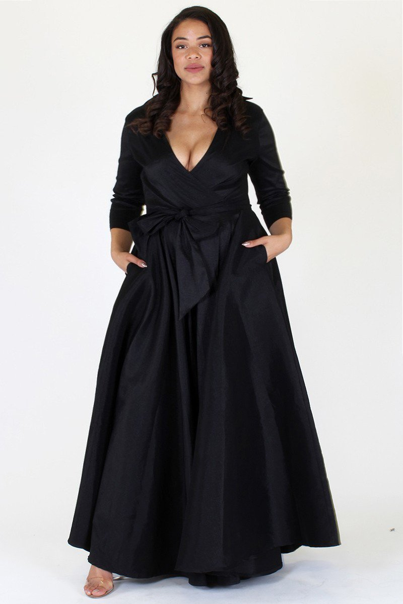 Plus Size Glamorous Maxi Wrap Ribbon Tie Dress
