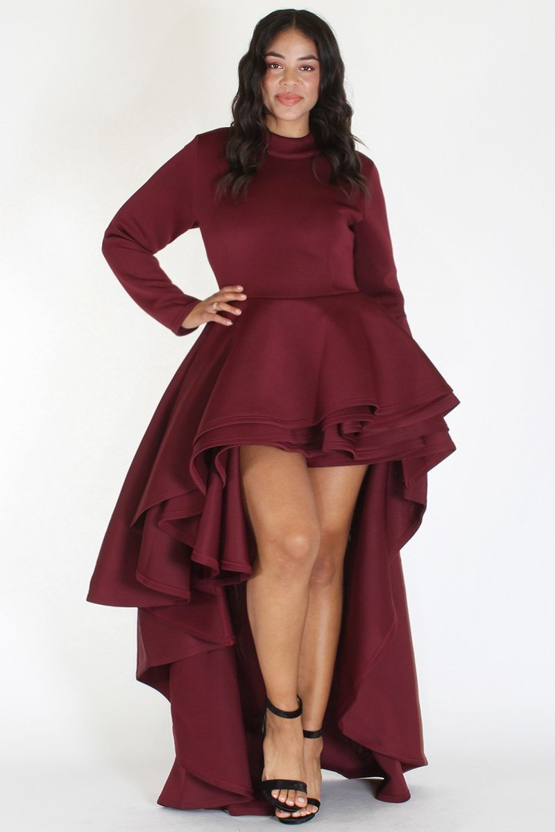Plus Size Long Sleeve Glam Hi Low Tiered Dress Burgundy