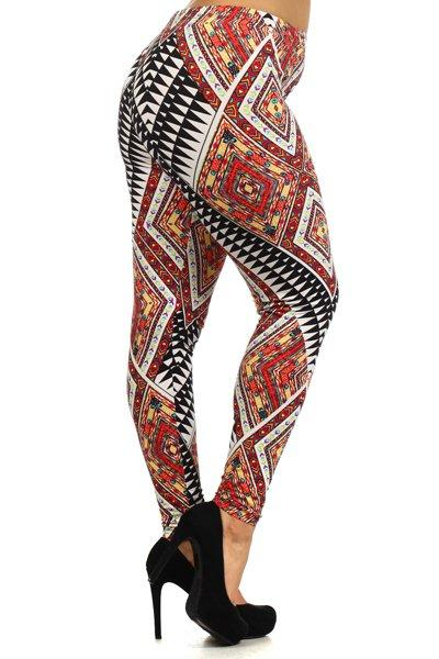 Plus Size Geo Pattern Stretchy Leggings