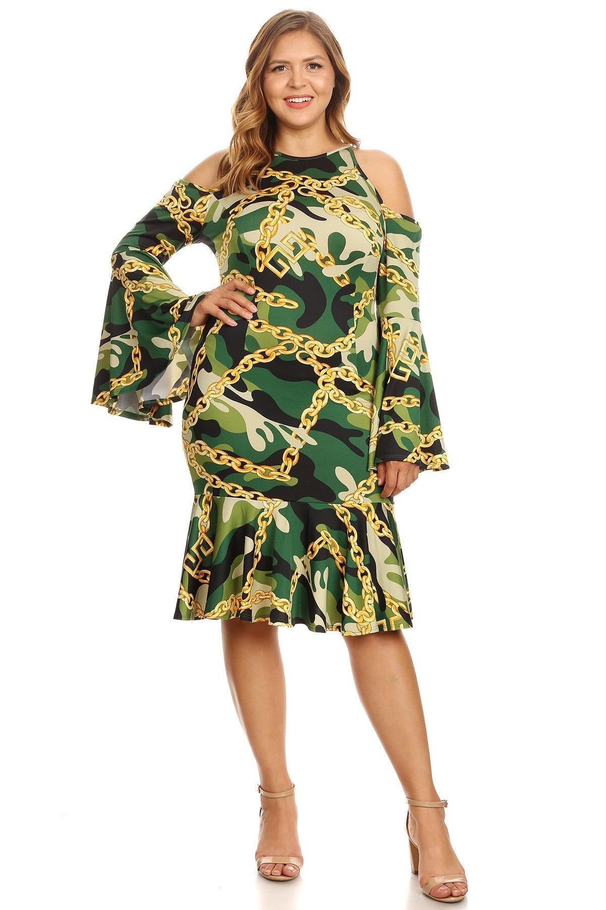 ef68aefaf7 Plus Size Bell Sleeves Cold Shoulders Camo Printed Dress – slayboo