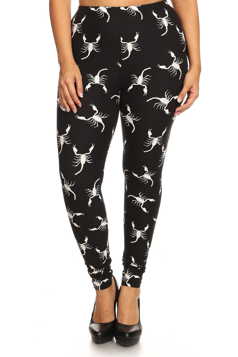 Plus Size Rocker Scorpion Print Leggings