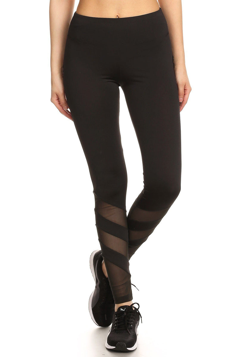 Solid Elastic Waist Mesh Panel Leggings