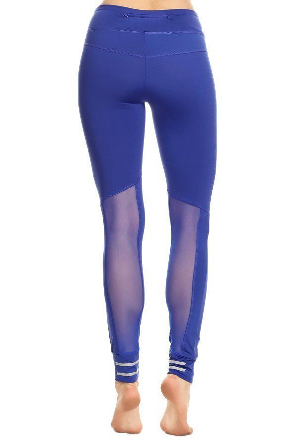 Solid Knit Athletic Mesh Panel Leggings