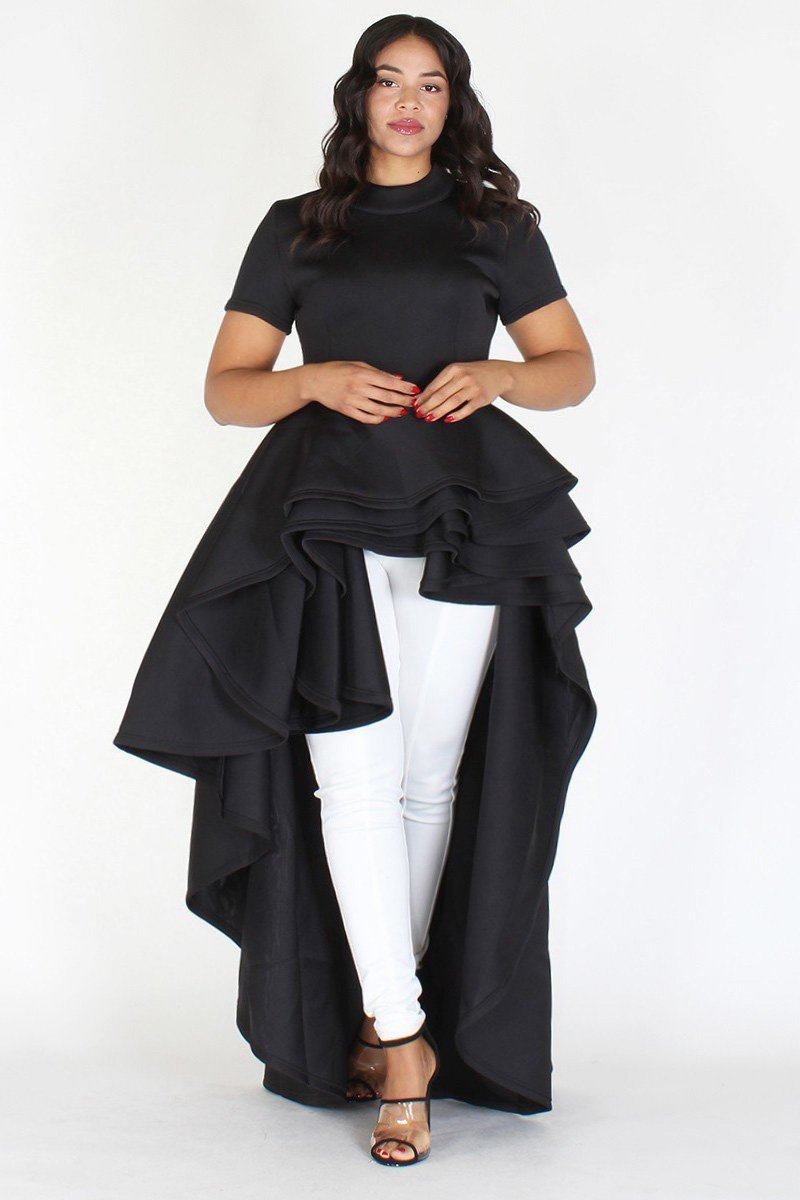 Plus Size Glam Short Sleeve Hi Low Tiered Black
