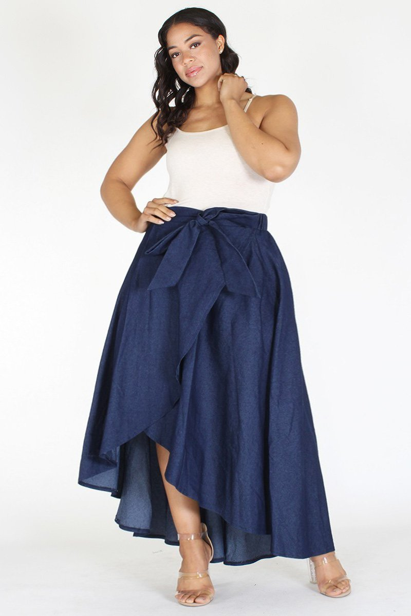Plus Size Denim High Waist Relaxed Maxi Skirt