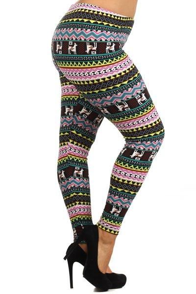 Plus Size Fun Animal Pattern Stretchy Leggings