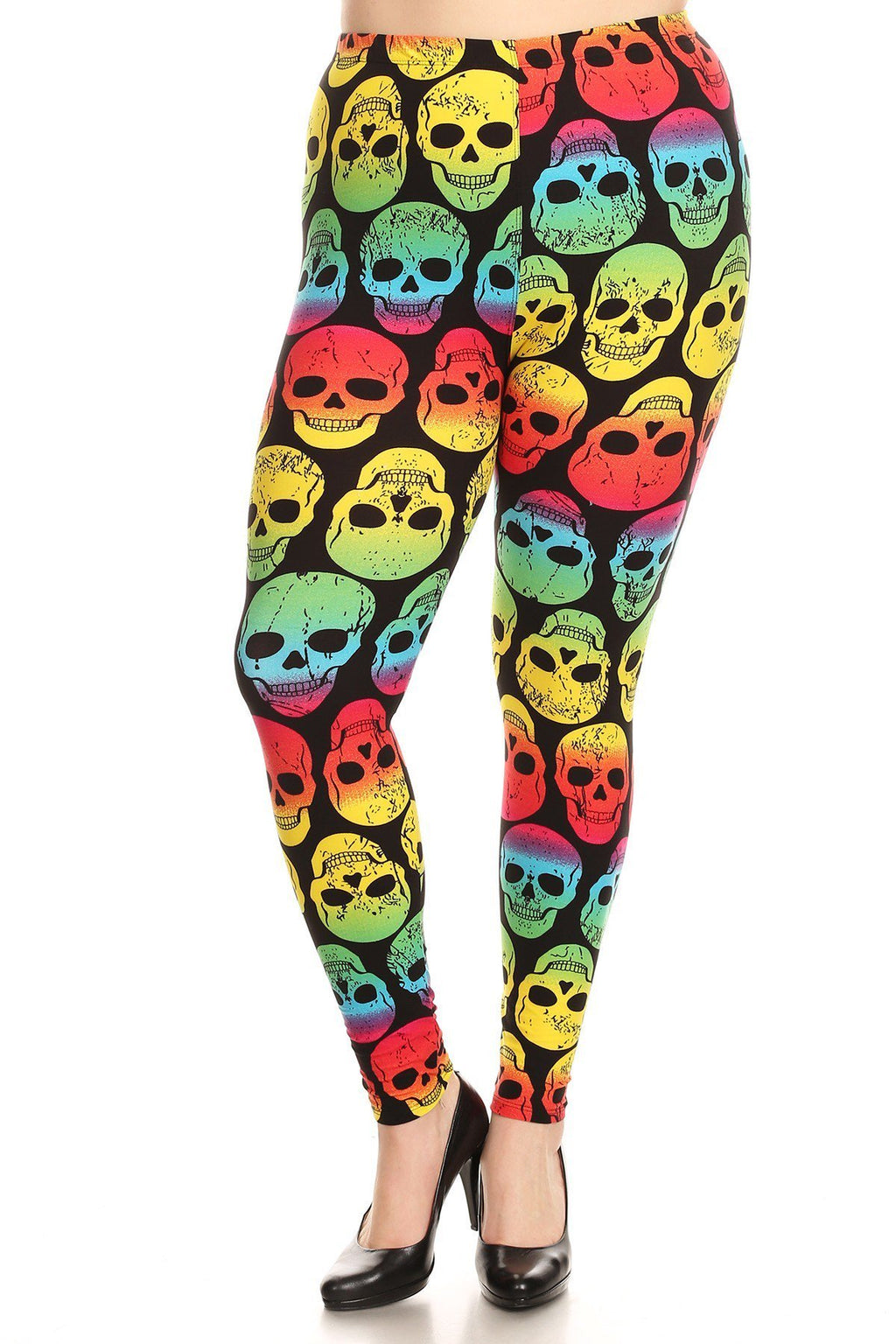 Plus Size Colorful Skull Pattern Stretchy Leggings