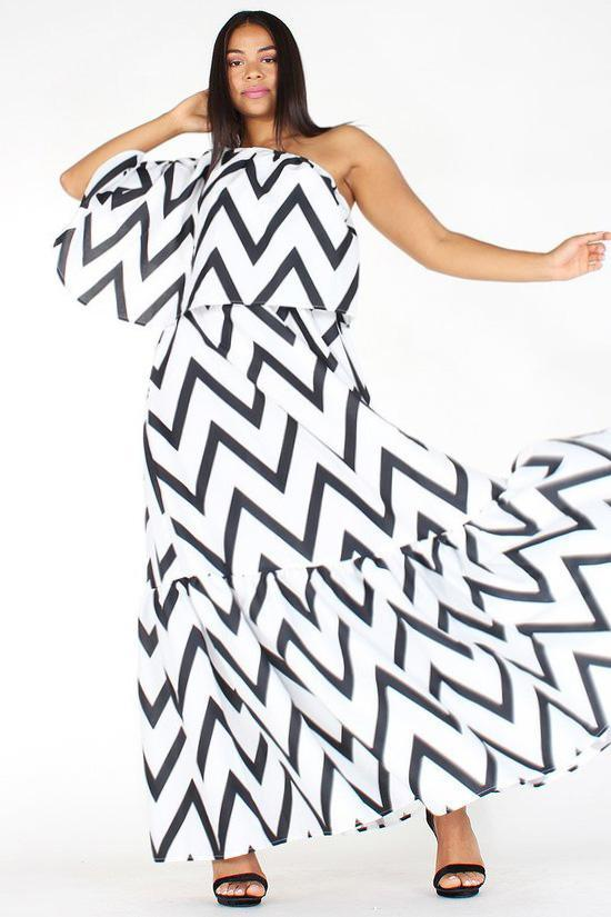 5d38fcd57c3 Plus Size Chevron Print Relaxed One Shoulder Dress – slayboo