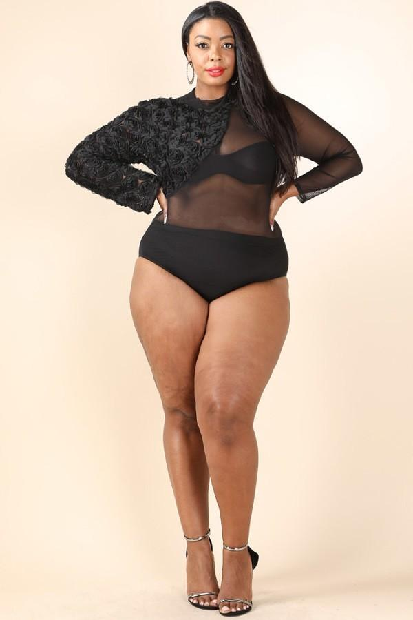 607af0dd79d Plus Size Contrast Mesh See Through Bodysuit – slayboo