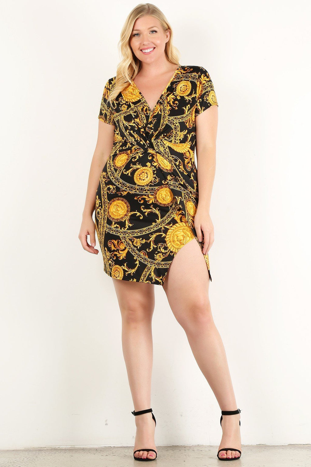 1c5efa5b704 Plus Size Golden Damask And Coins Printed Mini Dress