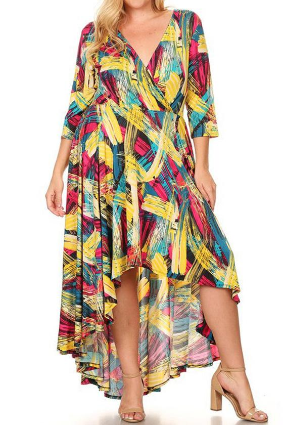 Plus Size Brush Strokes V Neck Waist Tie Hi-Lo Dress