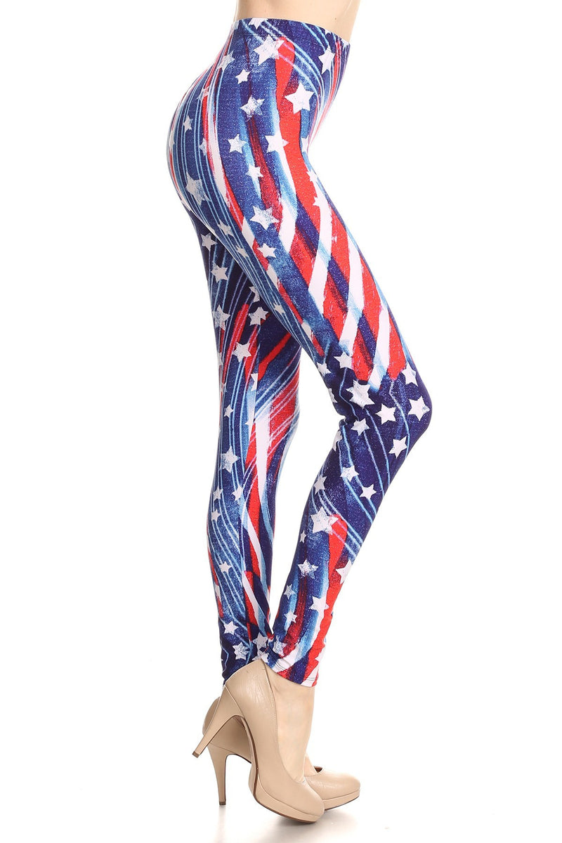 Vintage American Flag Printed Full Leggings