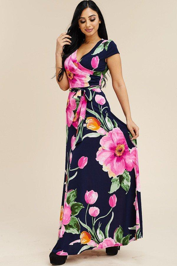 Plus Size Cap Sleeve Multi Color Floral Print