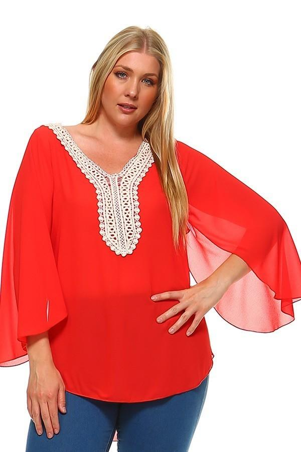 77e4318b18 Plus Size Polyester Bell Sleeves V-Neck Embroidered Top – slayboo